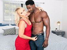 Sandy's surprise: a bigger than average, dark-skinned penis to fuck!